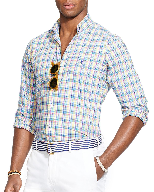 Lyst polo ralph lauren plaid poplin button down shirt for Blue and yellow plaid dress shirt