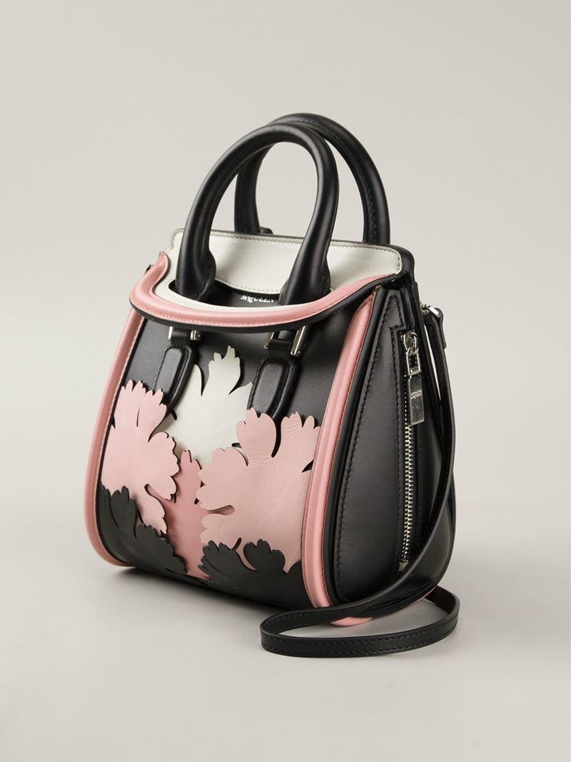 Alexander McQueen Heroine Mini Calf Leather Lotus Flower Appliqué Tote in Black (Pink)
