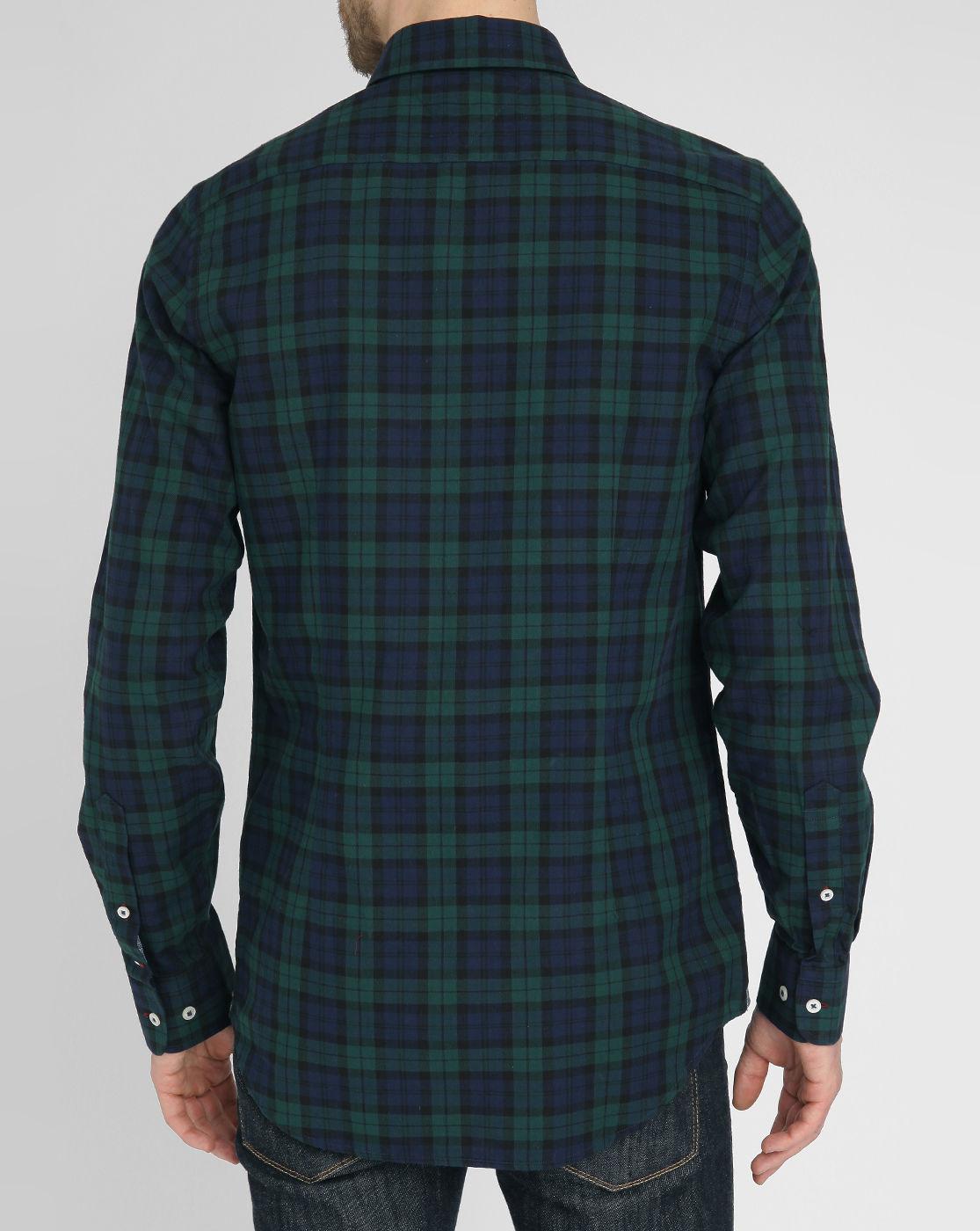 Tommy hilfiger blue and green tartan stretch cotton shirt for Blue and green tartan shirt