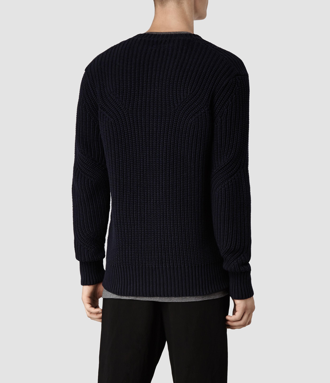 AllSaints Moat Crew Sweater in Blue for Men