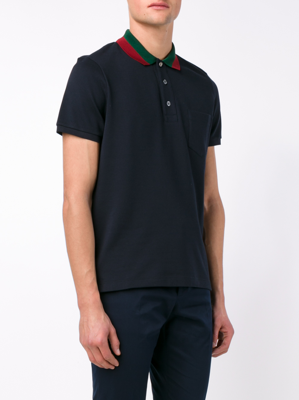 lyst gucci striped collar polo t shirt in blue for men. Black Bedroom Furniture Sets. Home Design Ideas