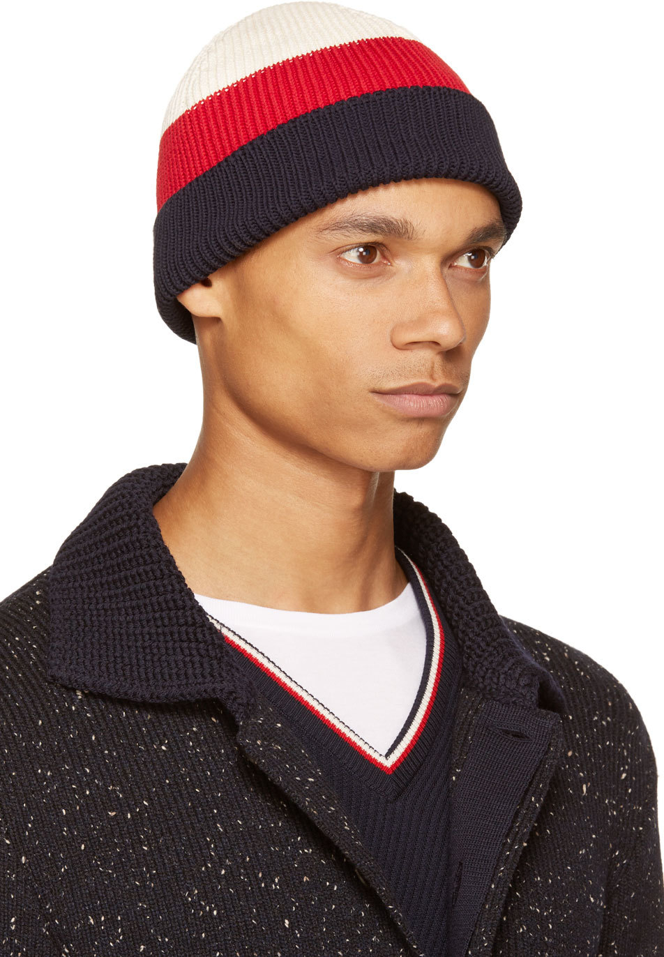 Thom browne Navy Tricolor Rugby Stripe Beanie in Blue for ...
