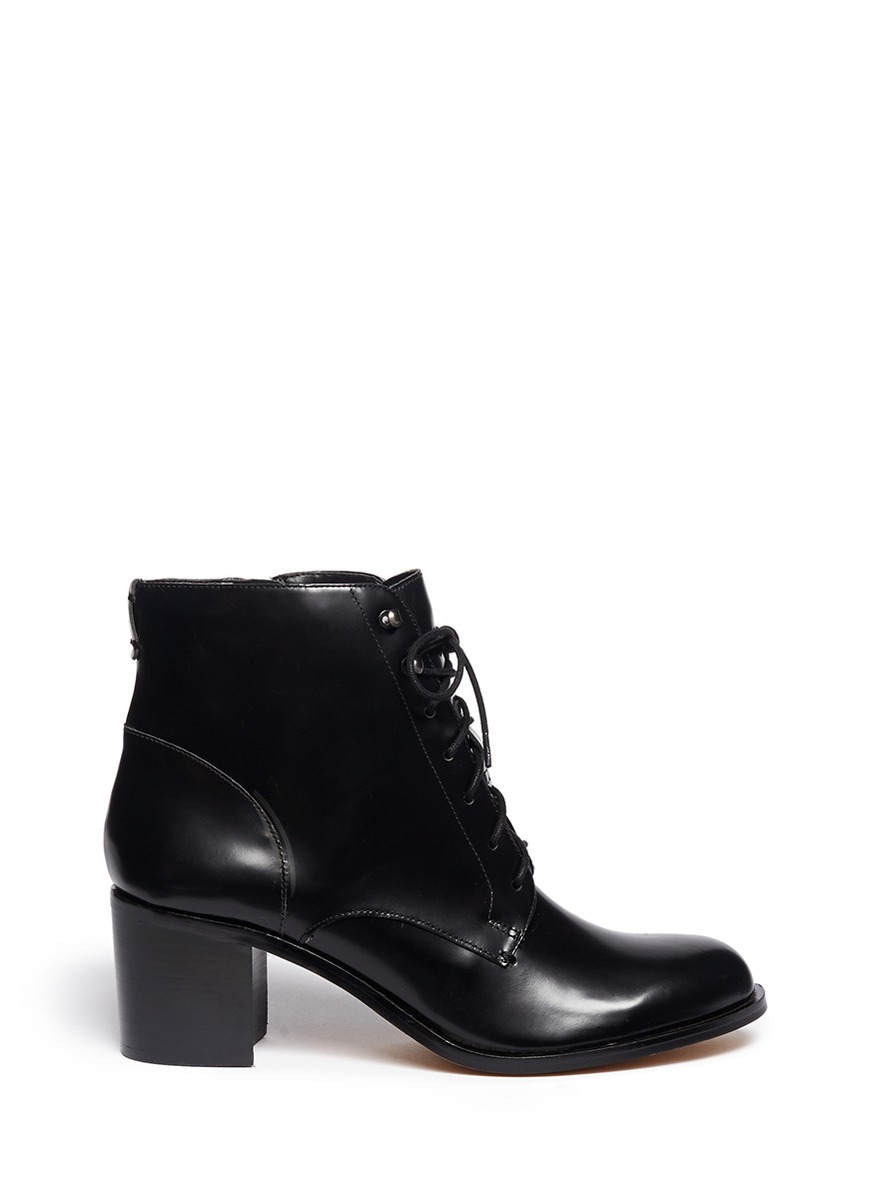 sam edelman jardin lace up leather boots in black lyst
