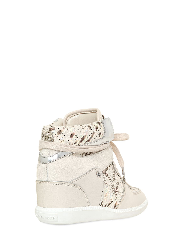 MICHAEL Michael Kors 70mm Suede Sneakers in White