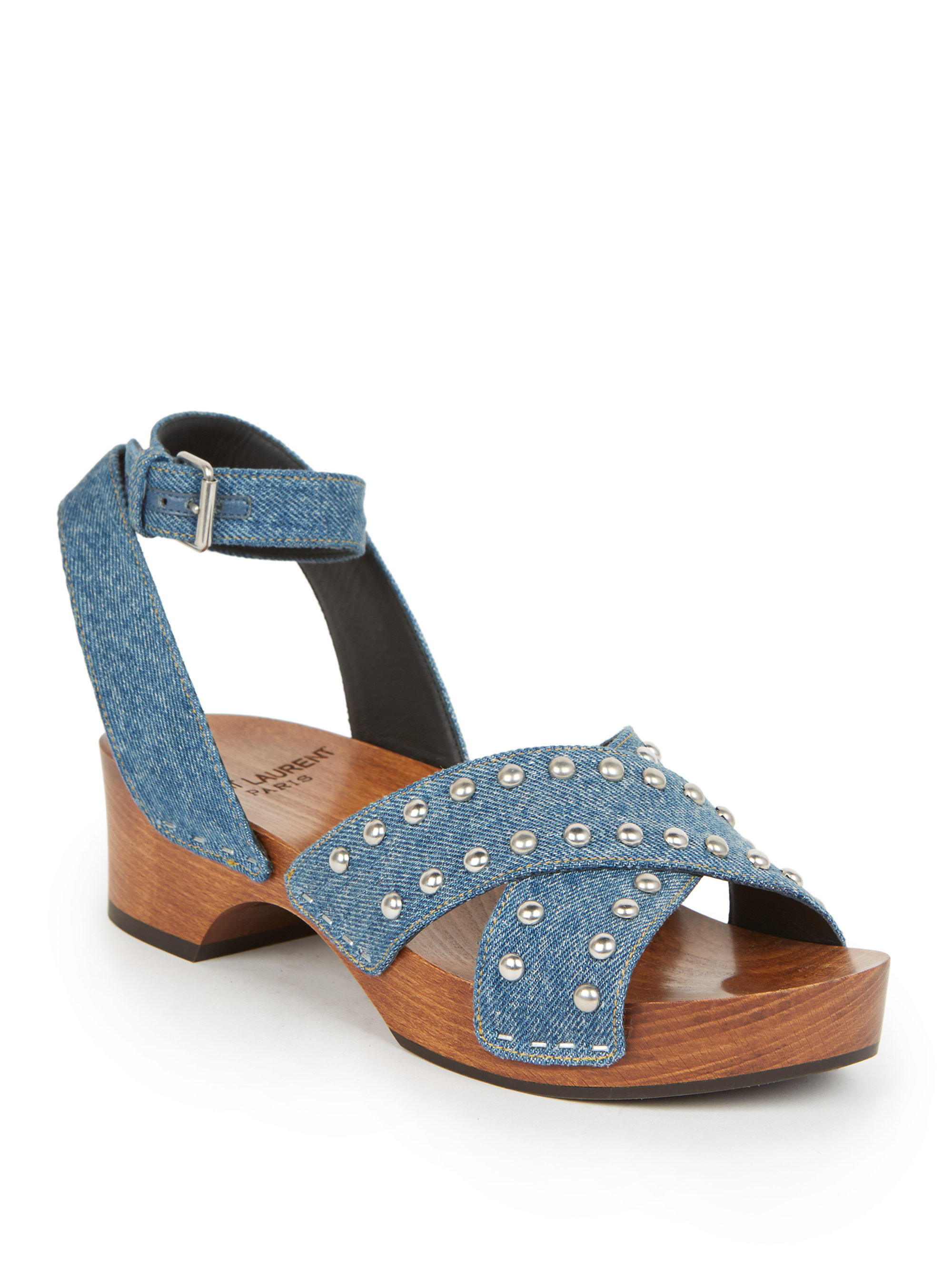 Saint Laurent Studded Denim Clog Sandals In Blue Lyst