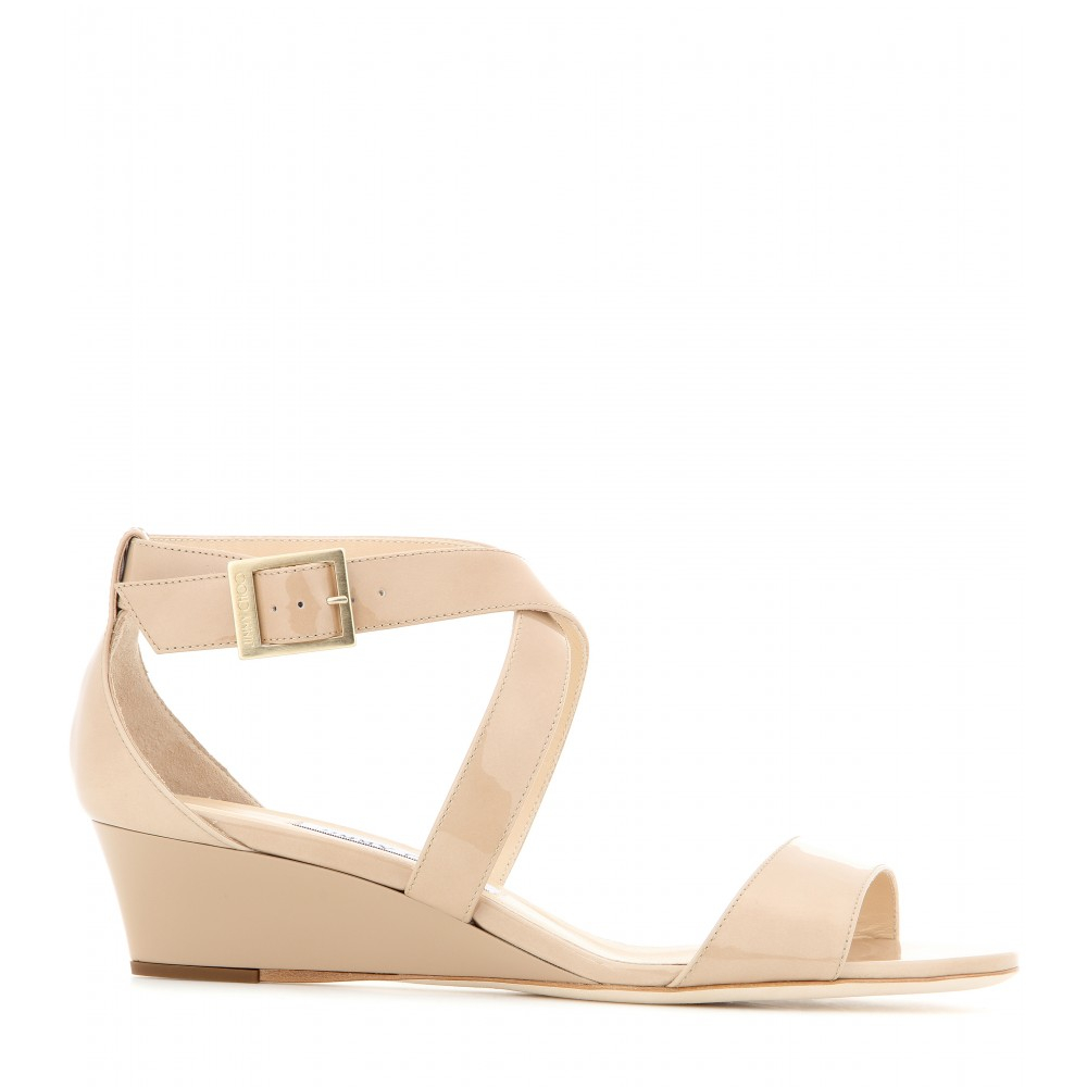 d7aae82a12b Lyst - Jimmy Choo Chiara Patent Leather Sandals in Natural