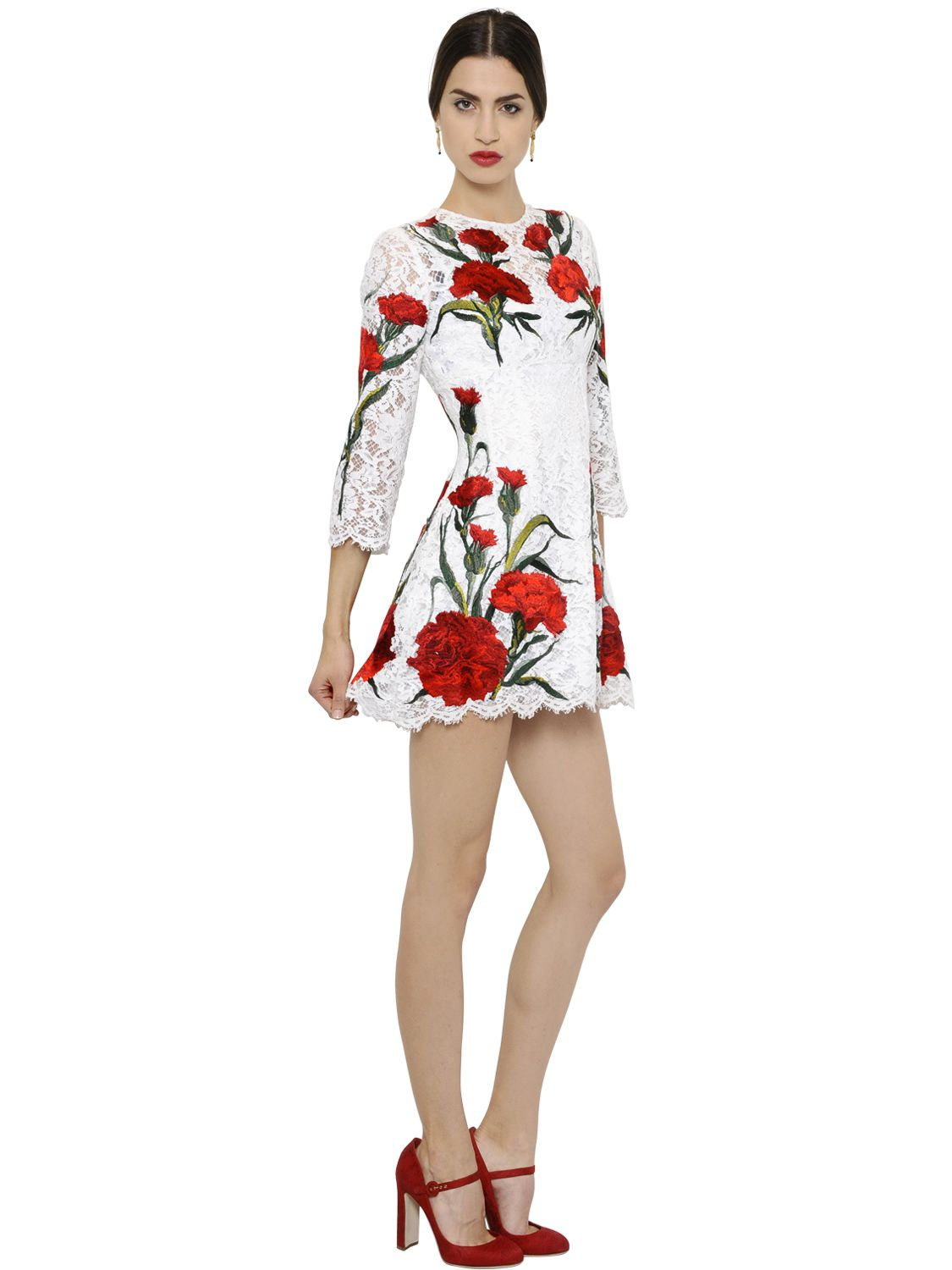 Dolce & Gabbana Woman Embroiderd Cotton And Silk-blend Dress White Size 40 Dolce & Gabbana 24N2y