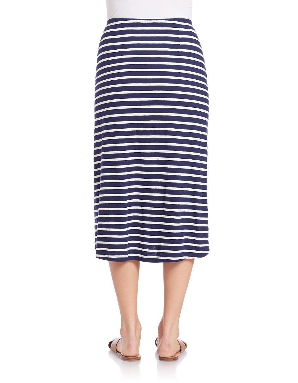 eileen fisher striped knit skirt in blue midnight lyst
