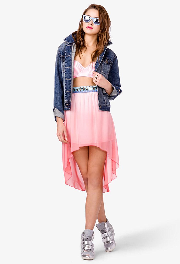 forever 21 ombr 233 highlow skirt in pink lyst
