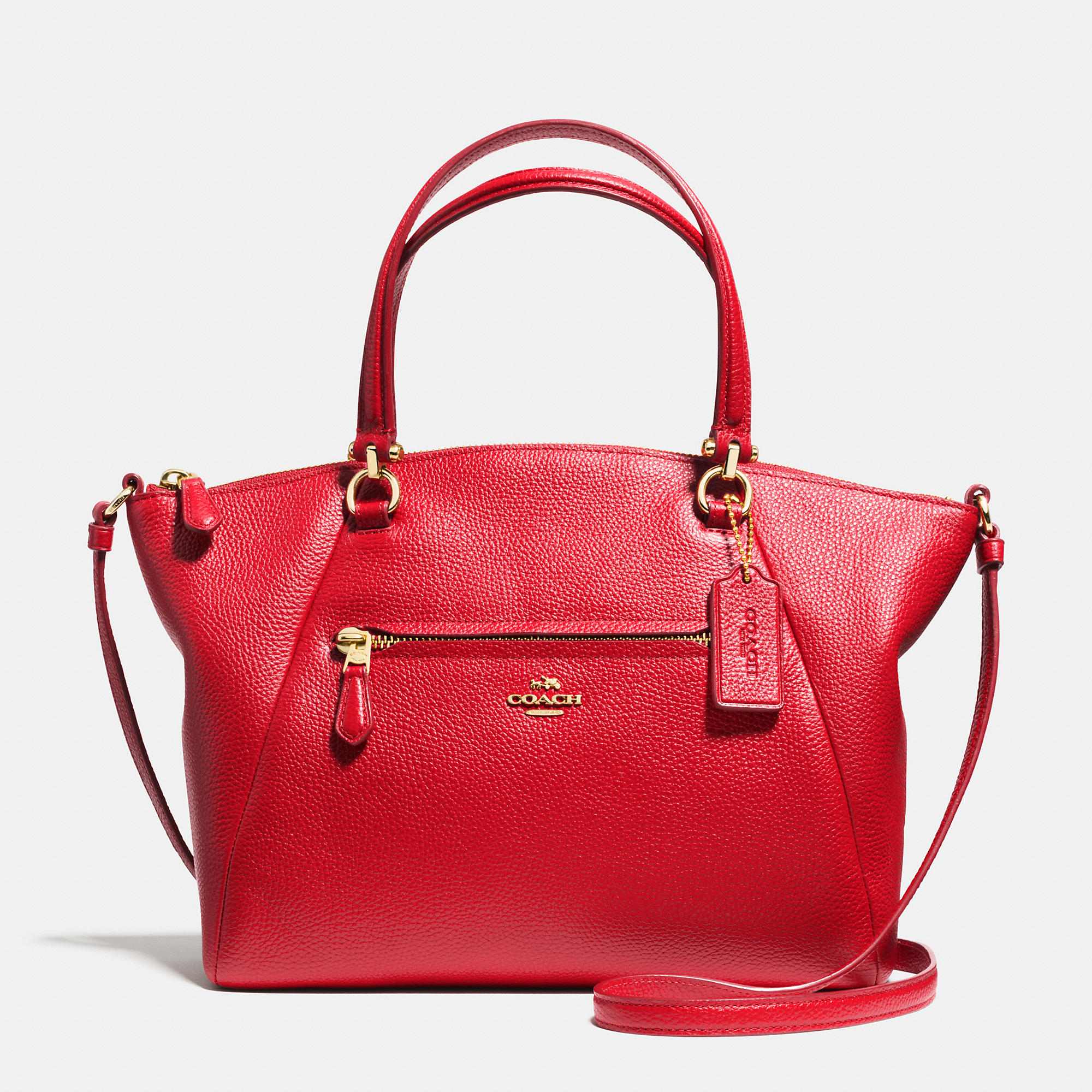 a019142ef ... best price lyst coach prairie satchel in pebble leather in red 5a37a  5675f