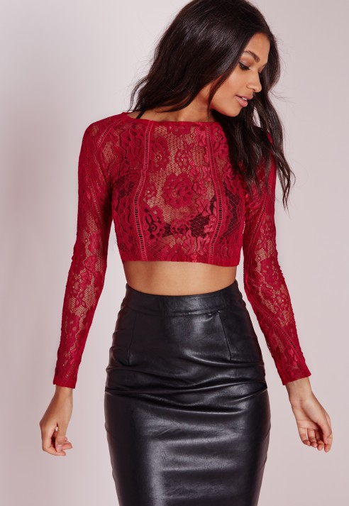 Missguided Ladder Detail Lace Crop Top Red In Red Lyst