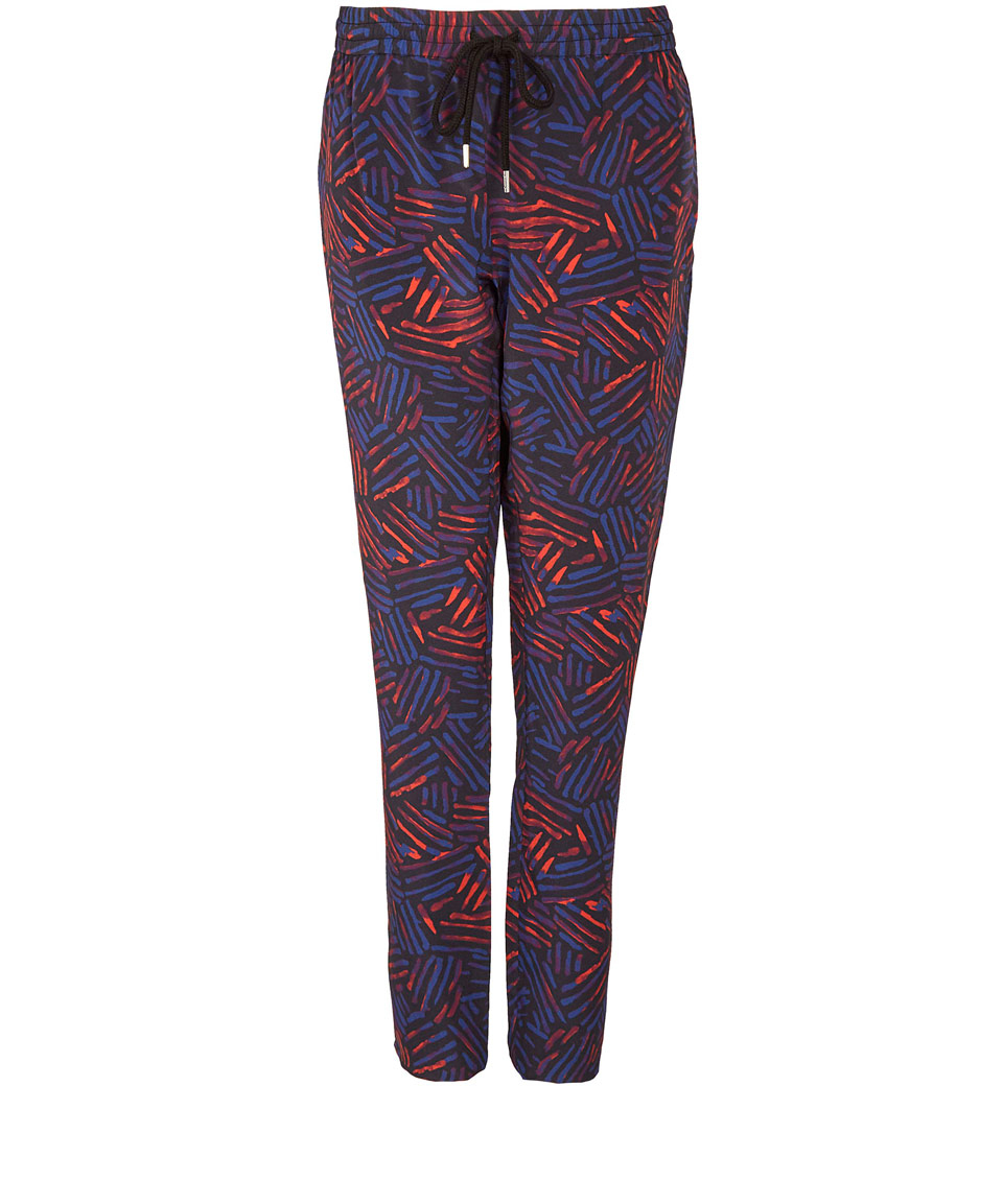 Markus lupfer Red Tribal Print Silk Sweatpants in Blue | Lyst
