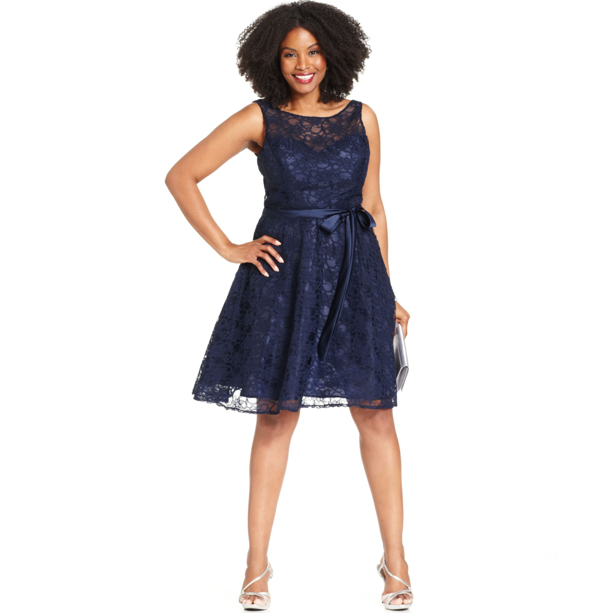 Marina Blue Plus Size Illusion Lace Dress