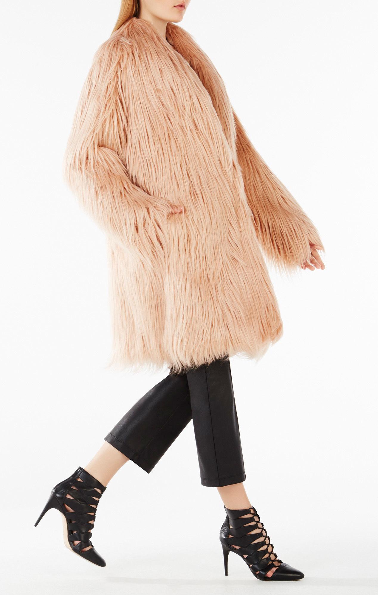 Bcbgmaxazria Waris Faux-shearling Coat in Pink