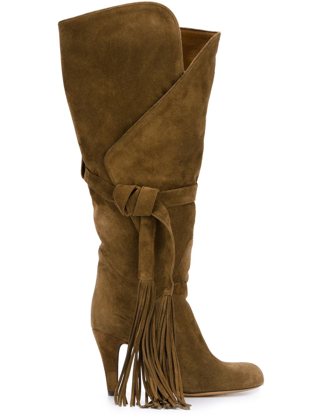 chlo 233 fringed boots in brown lyst