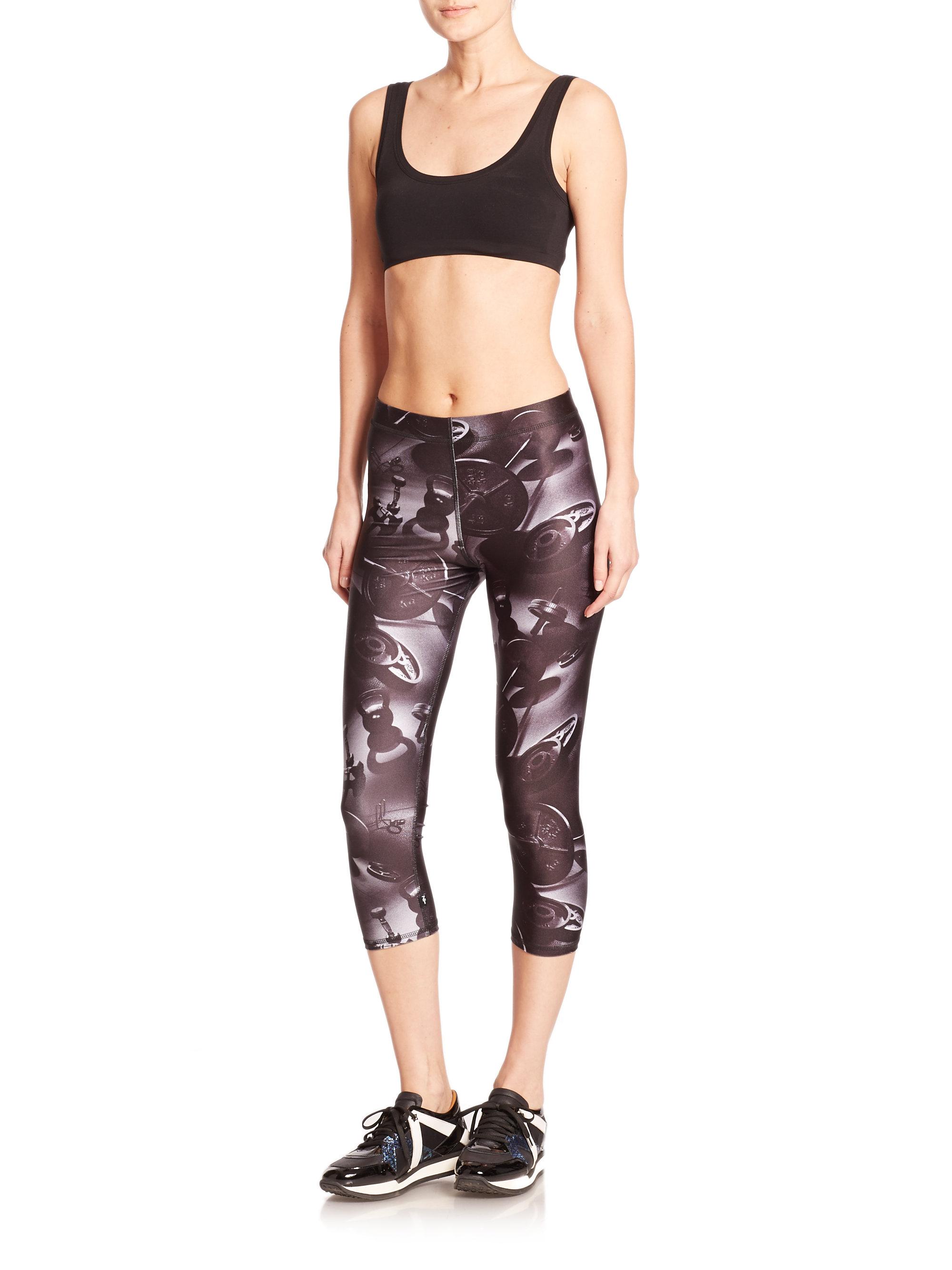 Terez Weights Printed Capri Leggings in Black | Lyst