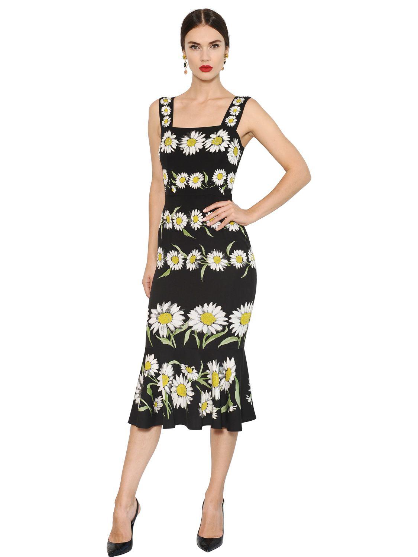 b304749a Dolce & Gabbana Daisy Printed Silk Cady Dress in Black - Lyst