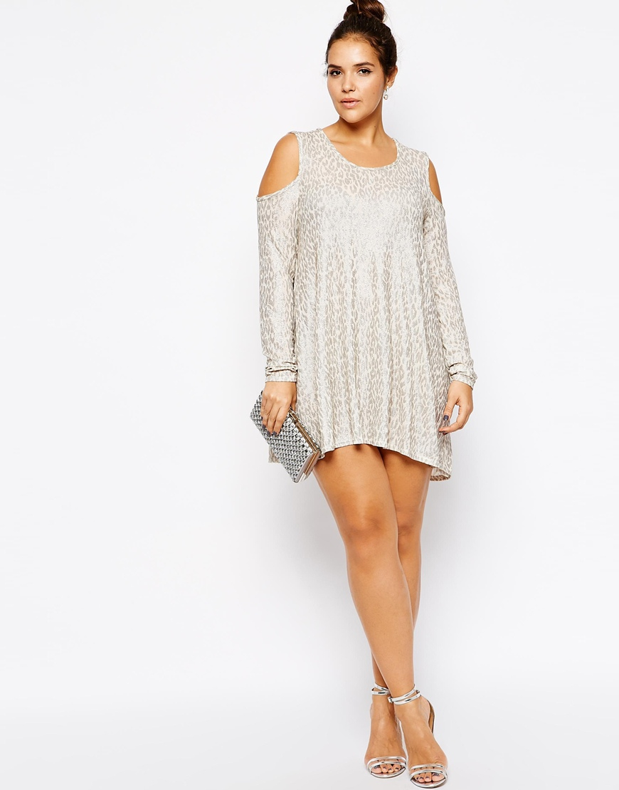 Plus Size Cold Shoulder Top in Glitter Knit