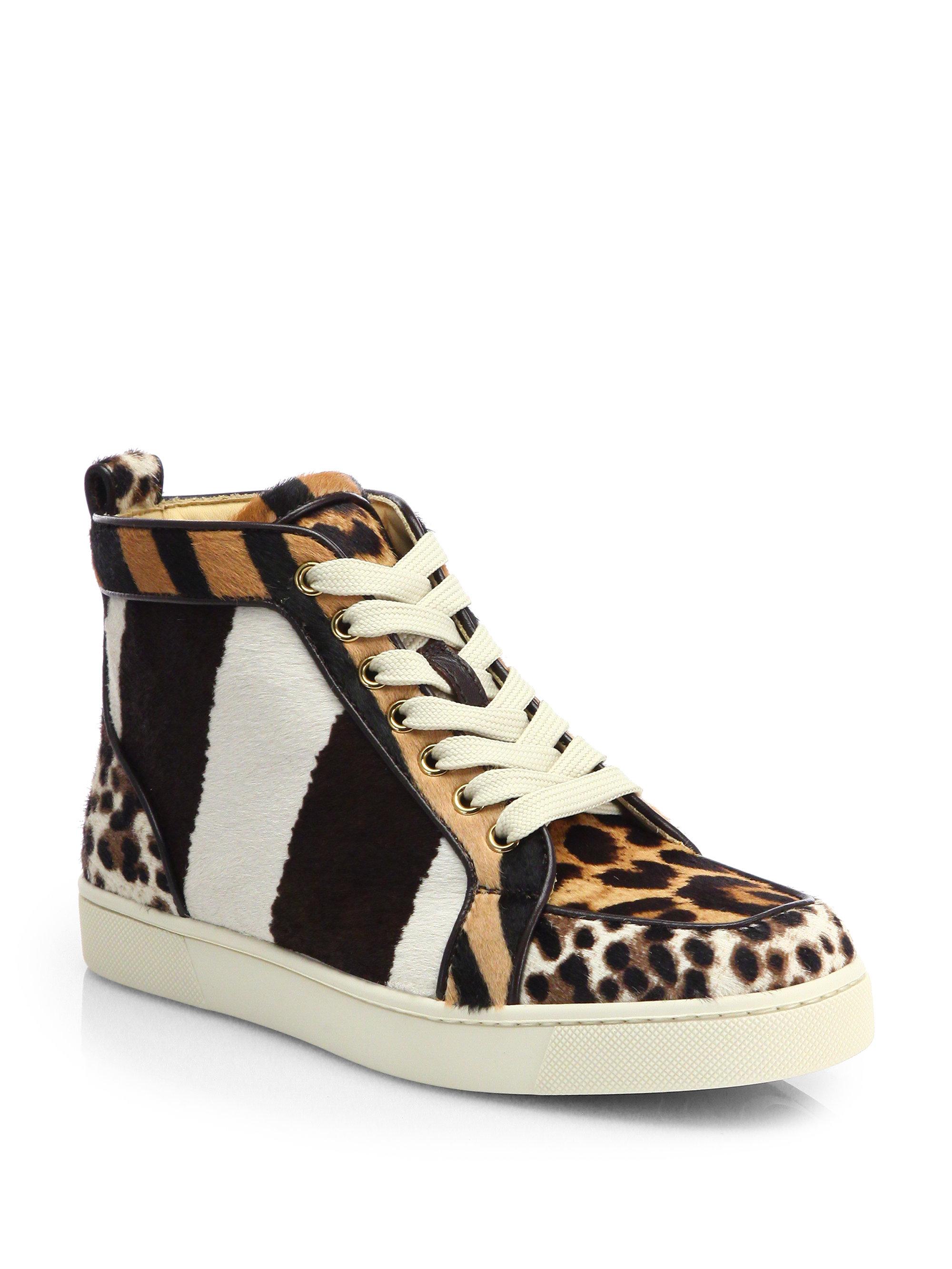 e529c3fb8e9 Christian Louboutin Multicolor Rantus Orlato Mixed Animal-Print Calf Hair  Sneakers
