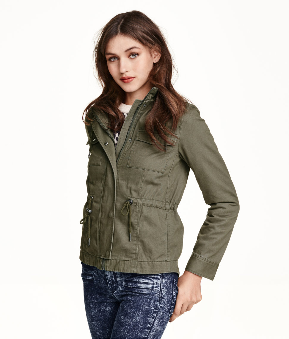 H&m Short Cotton Parka in Green | Lyst