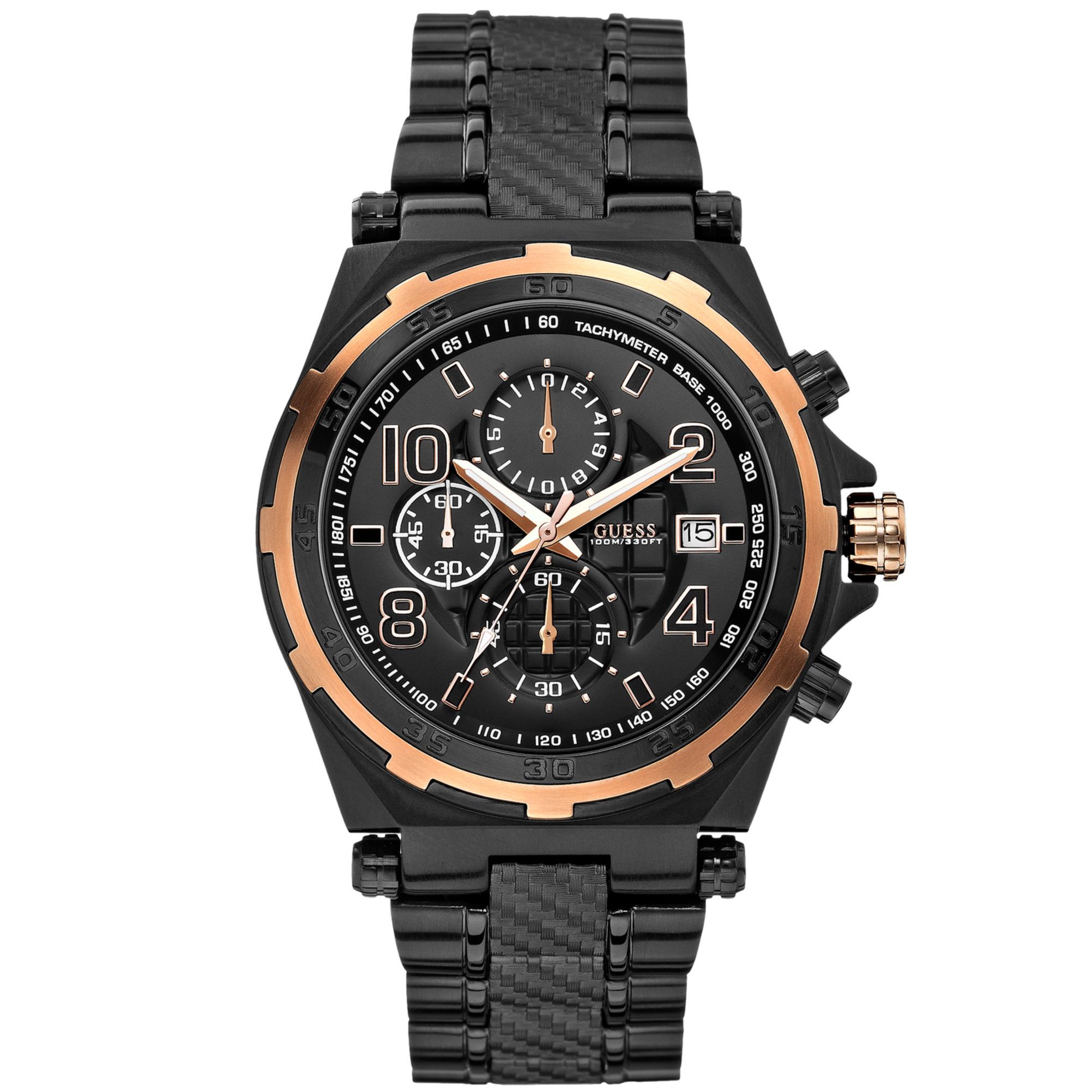 4d765a4ab Guess Watch Mens Chronograph Black Ionplated Bracelet 44mm in Black ...