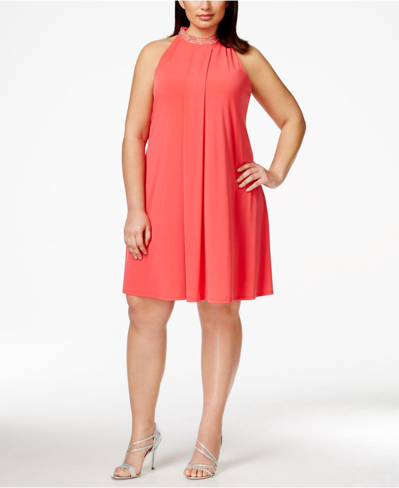 Plus Size Jewel-neck Trapeze Dress