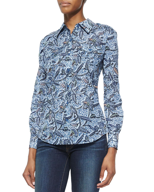 Lyst tory burch brigitte floral print button down blouse for Tory burch button down shirt