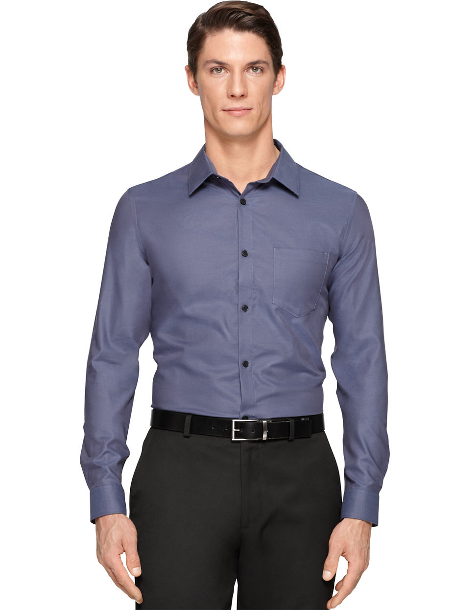 calvin klein cotton sportshirt in blue for men lyst. Black Bedroom Furniture Sets. Home Design Ideas