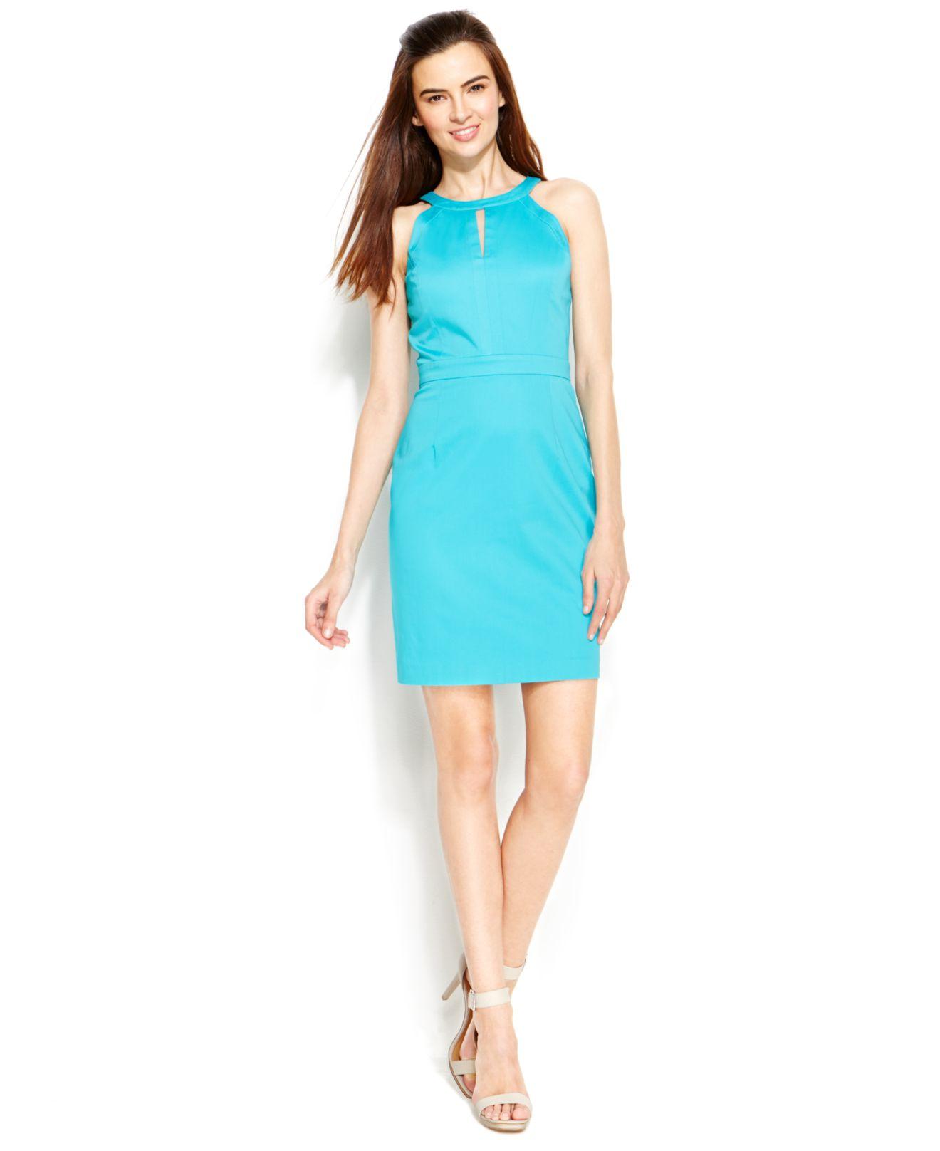 Lyst - Calvin Klein Keyhole Halter Sheath Dress in Green 41655d418