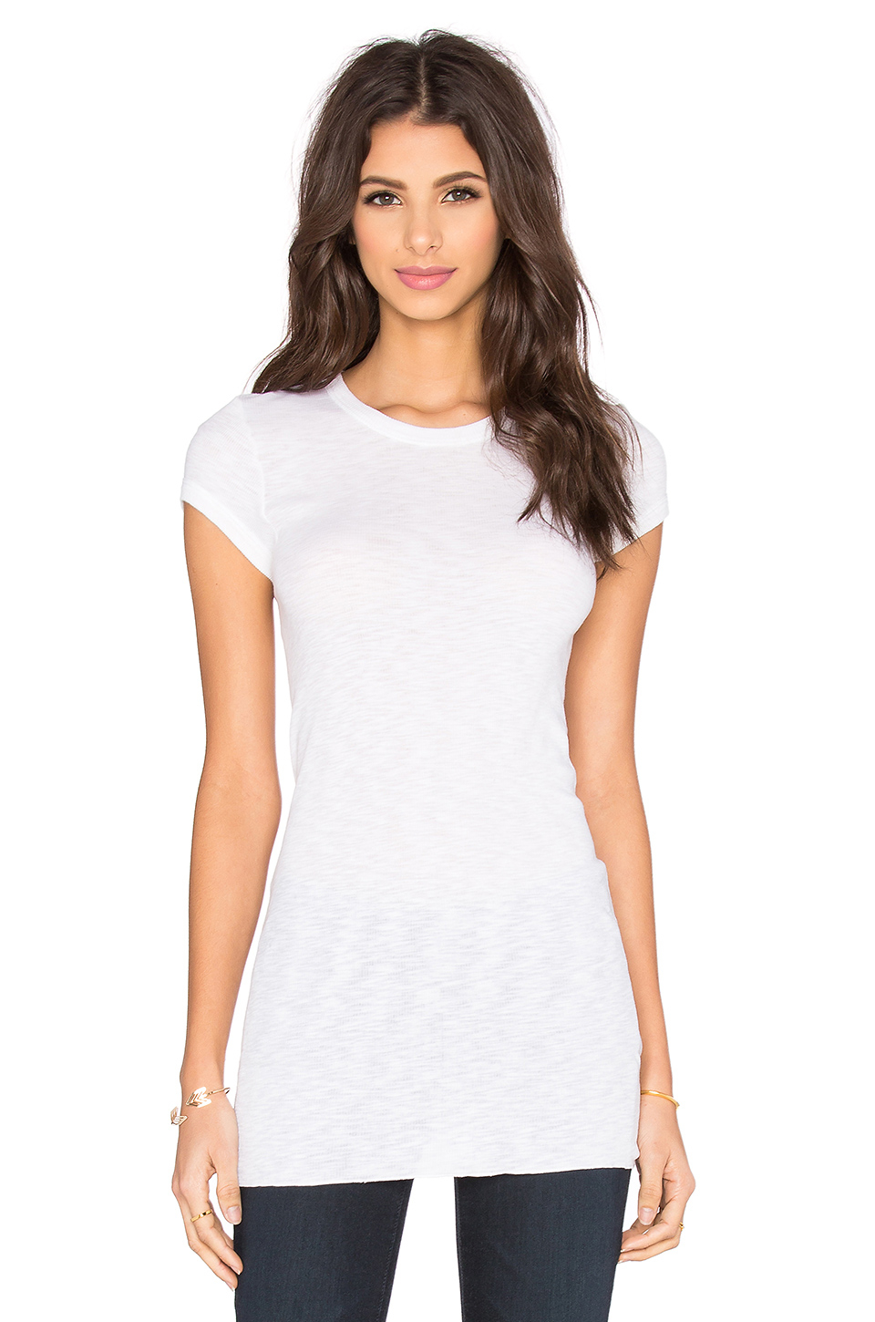 Lyst - Enza Costa Rib Fitted Cap Sleeve Top in White