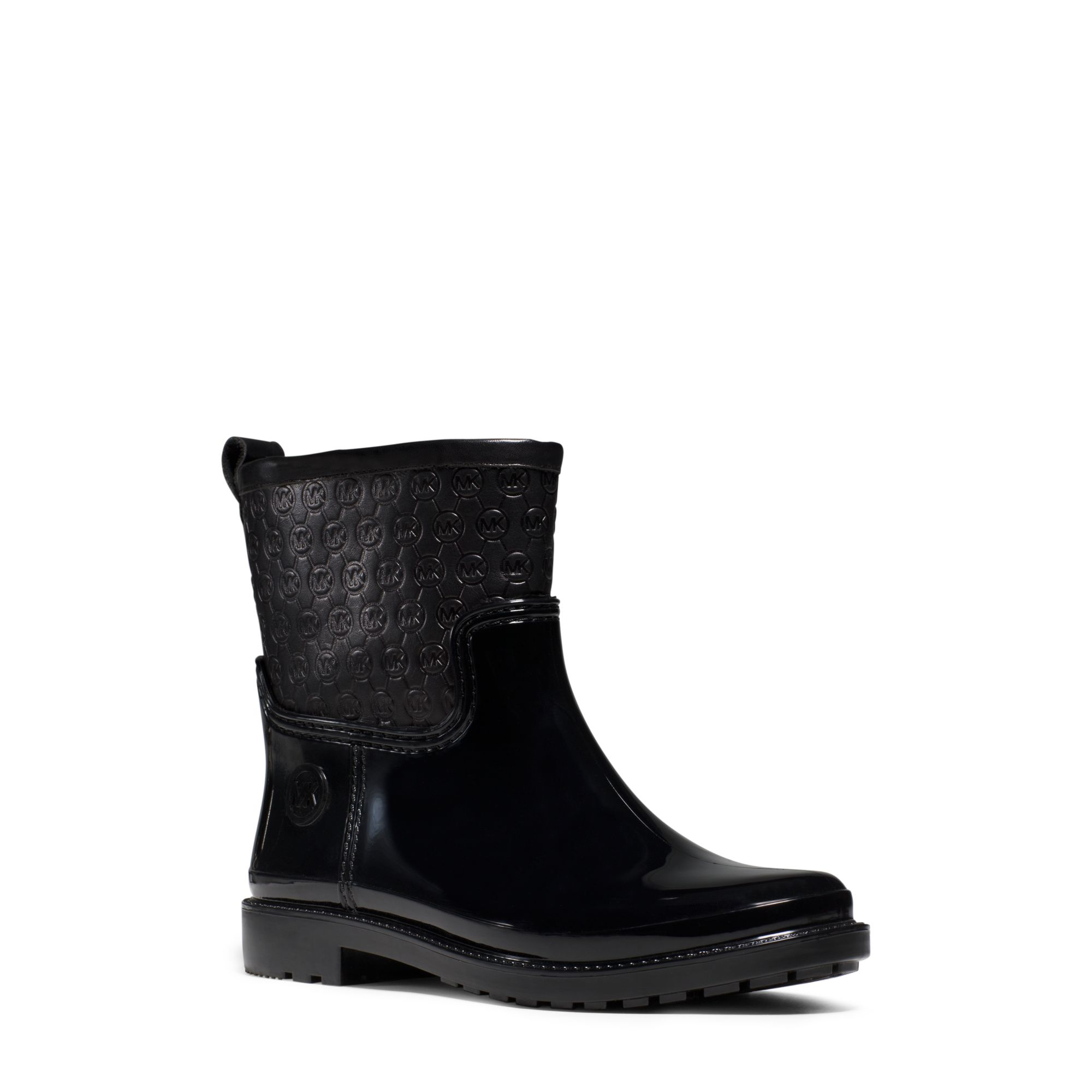 Michael Kors Blakely Leather And Rubber Ankle Rain Boot In -7004