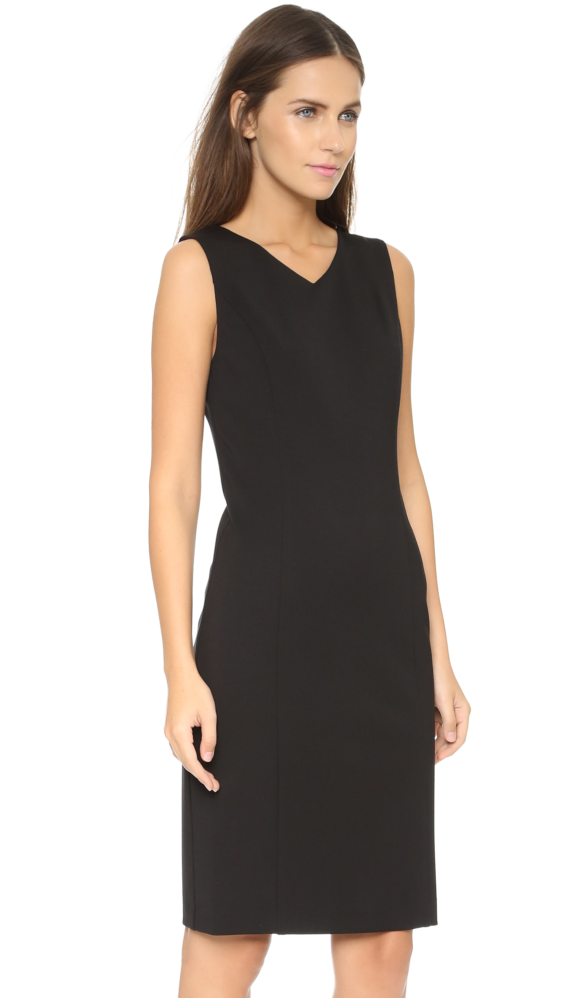 62ceba21 Rebecca Taylor V Neck Ponte Sheath Dress - Black in Black - Lyst