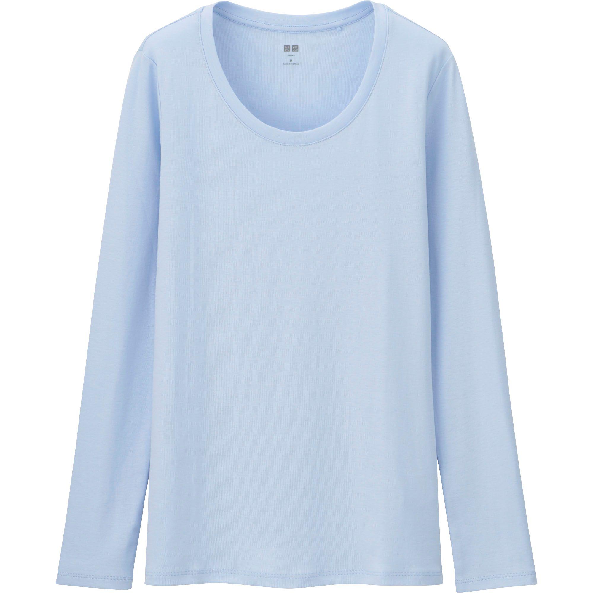 Uniqlo Women Supima Cotton Crewneck Long Sleeve T Shirt In