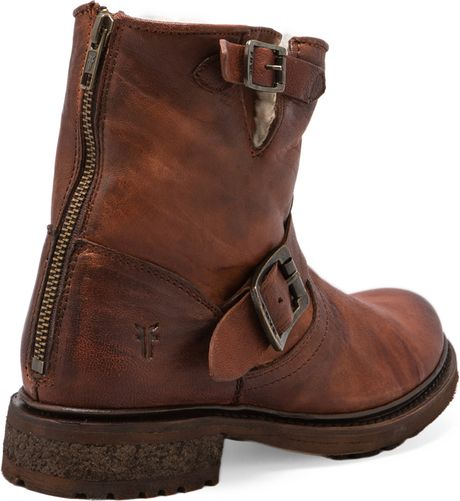 Frye Valerie 6 Motorcycle Lamb Shearling Lined Boot In