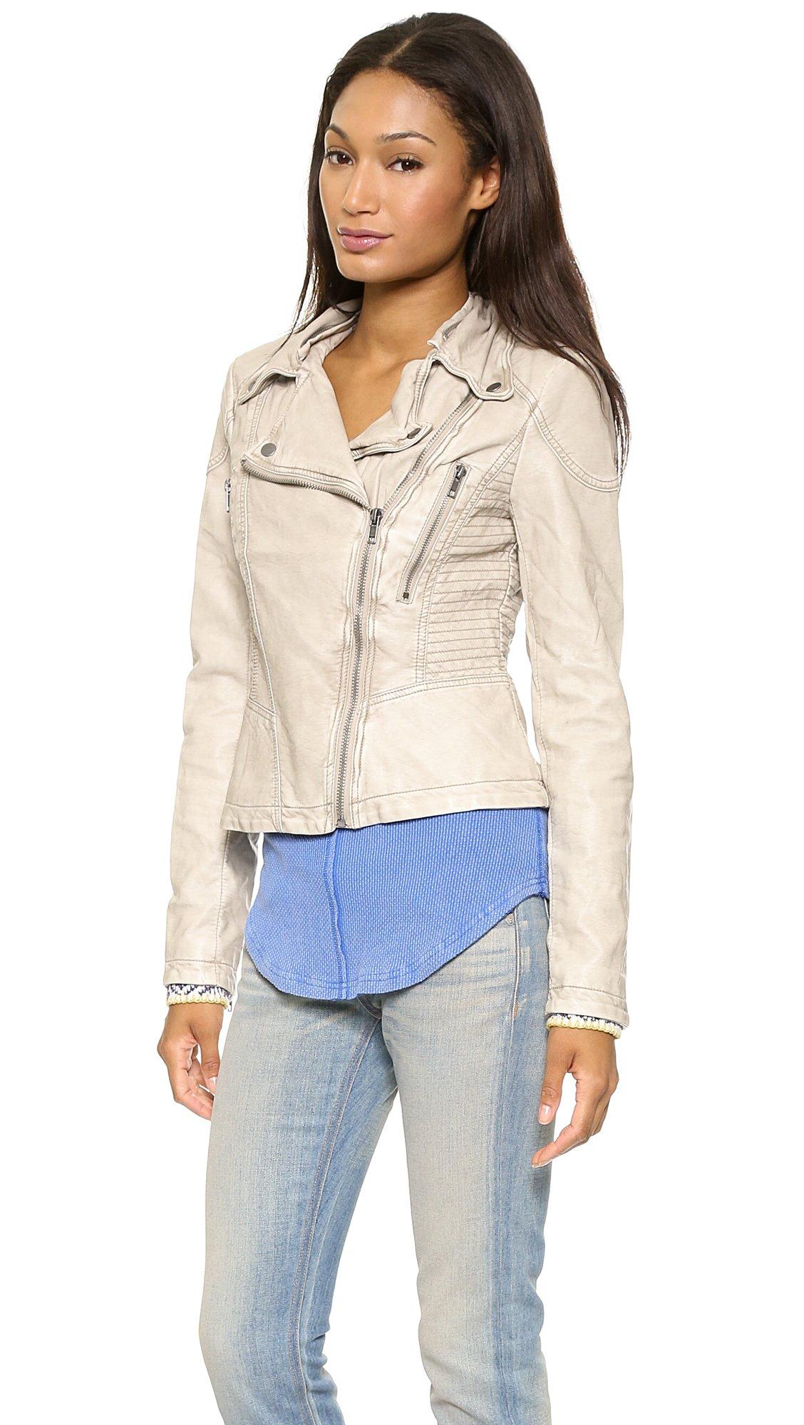 Free People Vegan Leather Hooded Moto Jacket In Gray Lyst