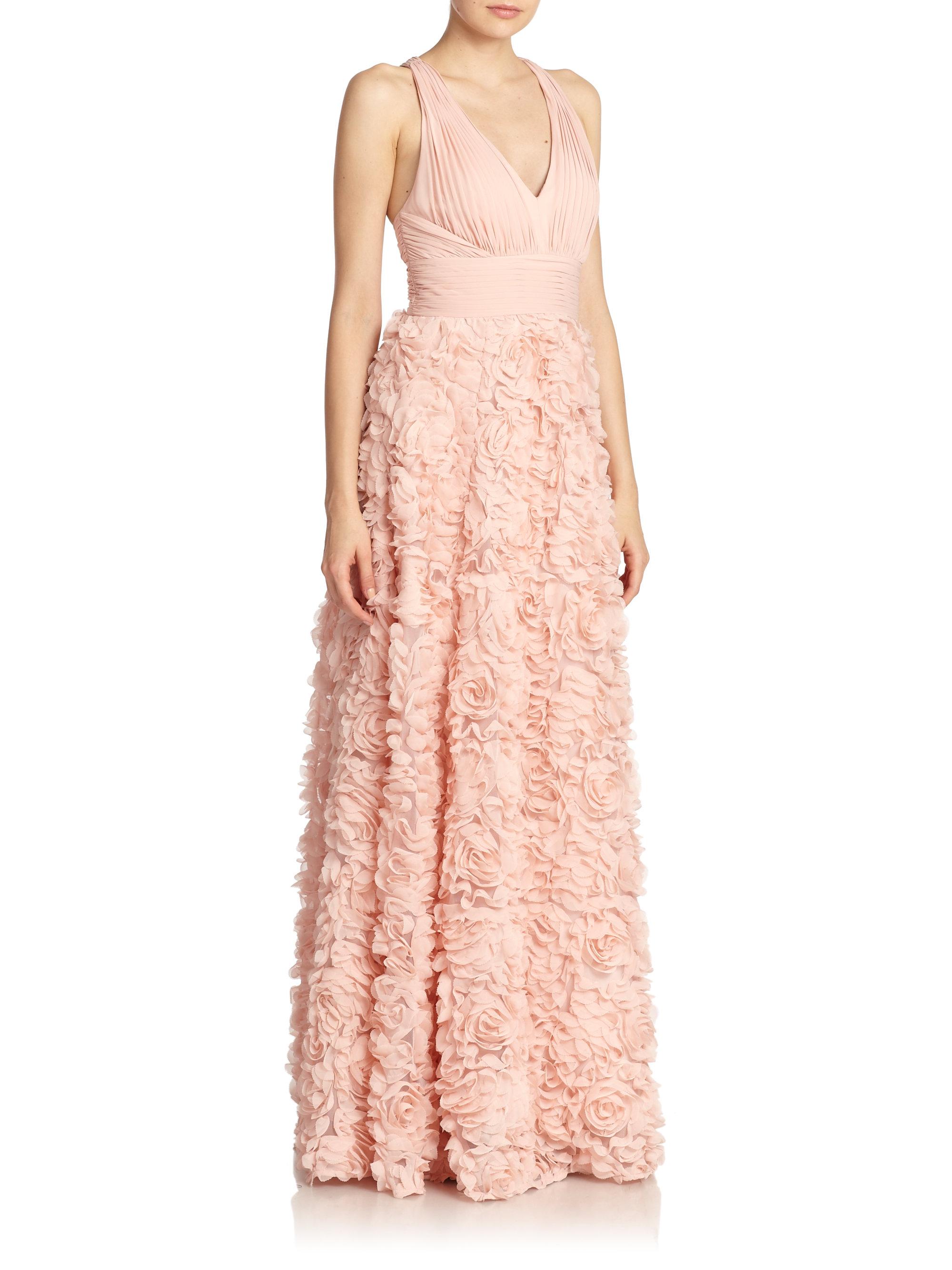 Lyst Aidan Mattox Chiffon Flower Gown In Pink