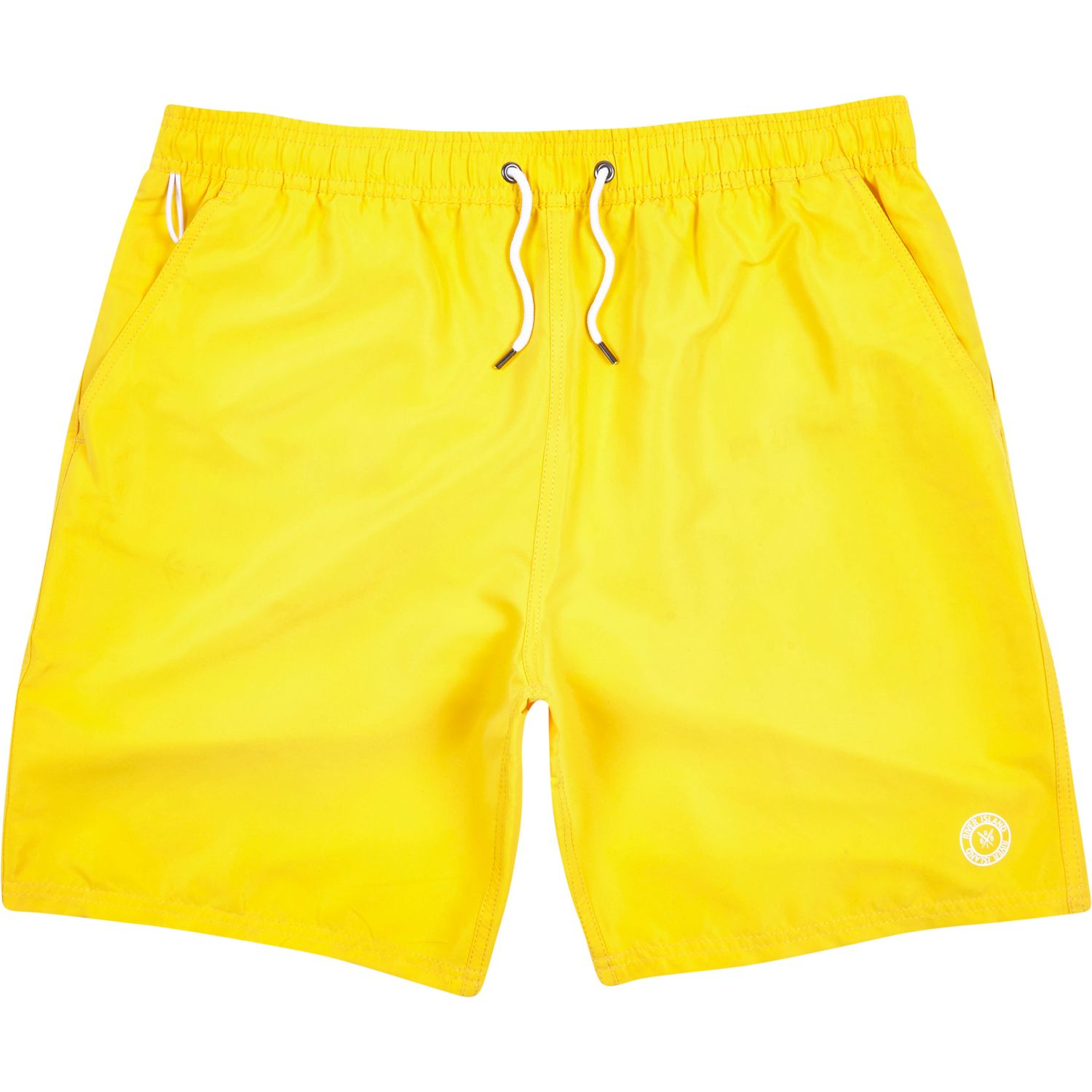 River Island Bright Yellow Mid Length Swim Shorts in ...