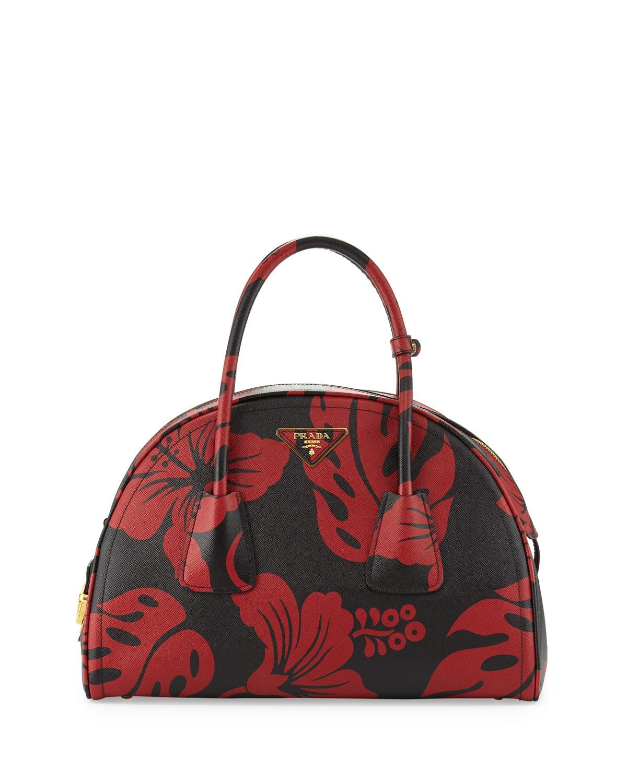 Prada Saffiano Hibiscus Double Tote Bag Pink Leather Prada
