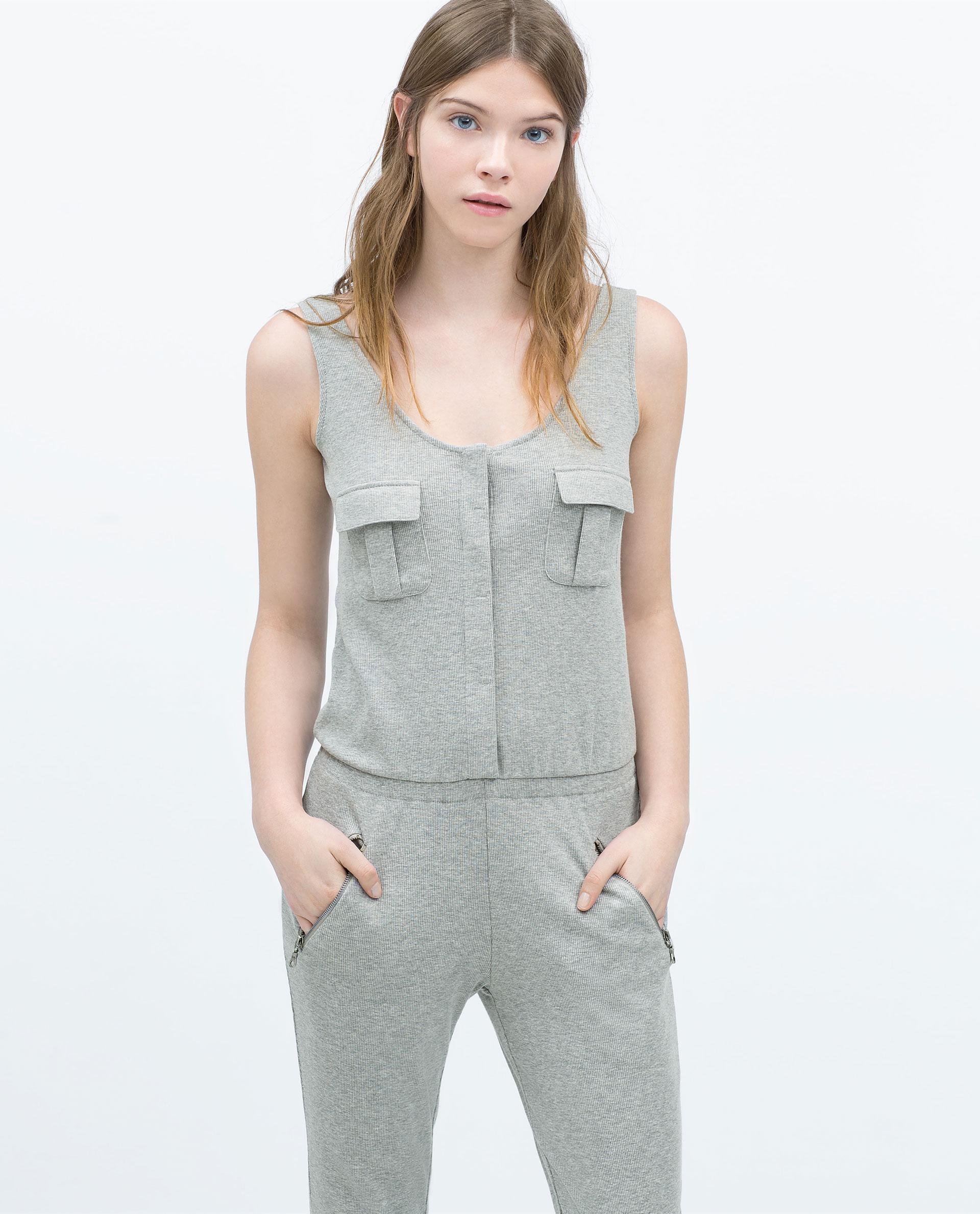 Zara Ribbed Jumpsuit In Gray