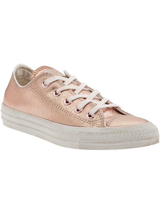 converse chuck taylor all star low sneaker in gold rose gold white metallic snake lyst. Black Bedroom Furniture Sets. Home Design Ideas