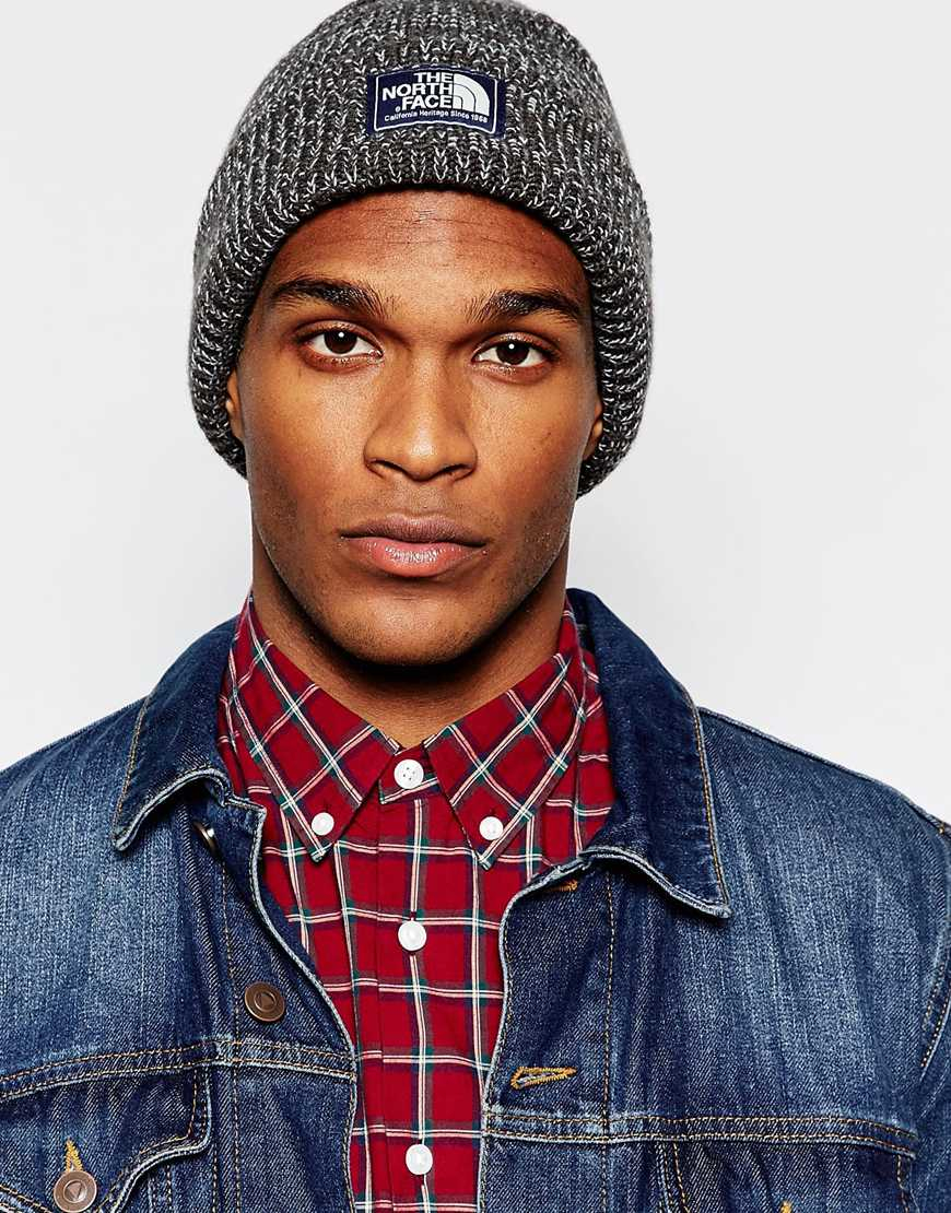 North Face Salty Dog Beanie Hat In Grey