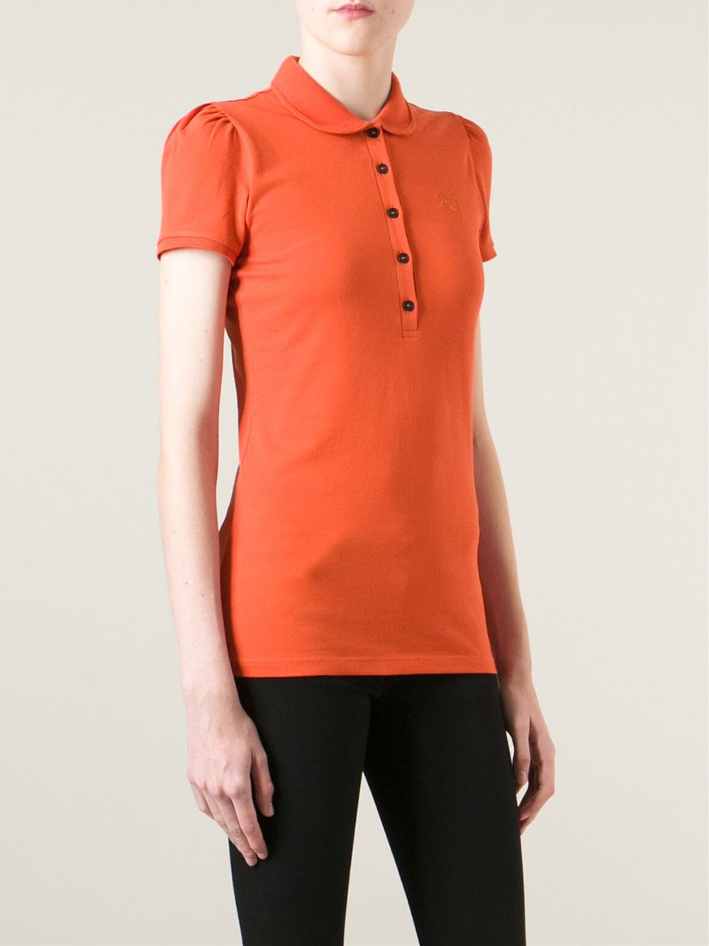 Burberry Brit Classic Polo Shirt In Red Yellow Orange