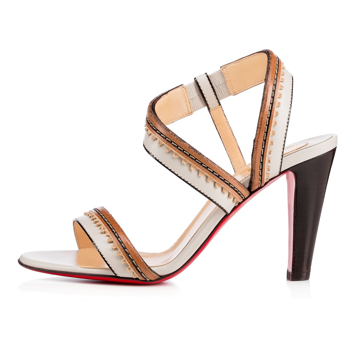 replica christian louboutin mens shoes - Christian louboutin Trepi City Striped Leather Sandals in ...