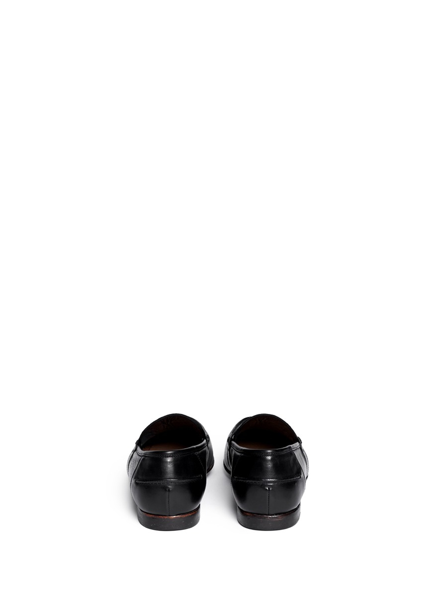Rolando Sturlini Distressed Leather Penny Loafers in Black for Men