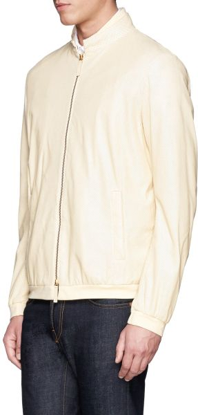 Armani Perforated Leather Bomber Jacket In White For Men