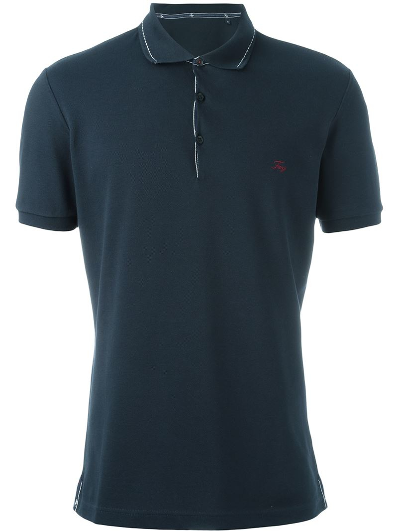 Fay Embroidered Logo Polo Shirt In Blue For Men Lyst