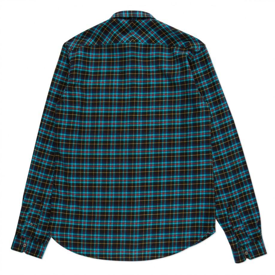 Lyst paul smith men 39 s turquoise plaid cotton blend shirt for Aqua blue mens dress shirt