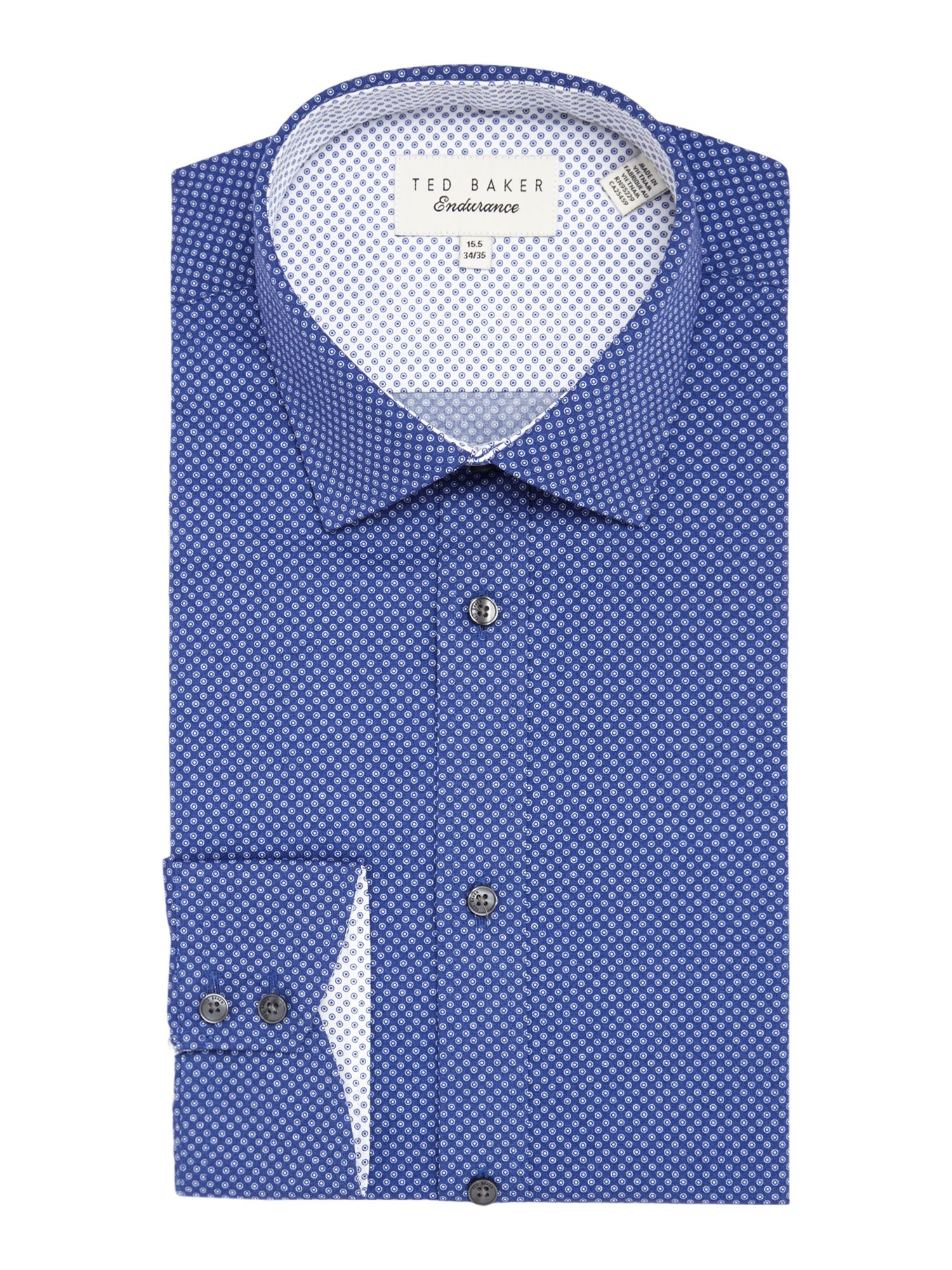 Ted baker archane slim fit geometric print shirt in blue for Ted baker blue shirt