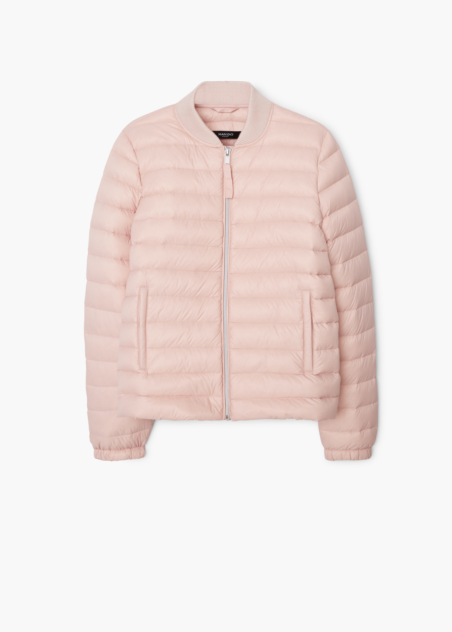 Mango Quilted Feather Coat in Pink | Lyst