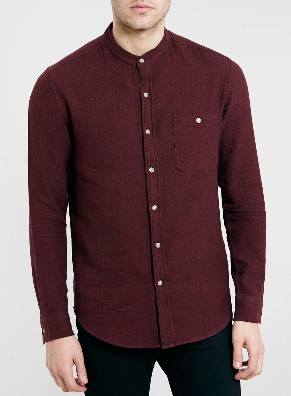 TOPMAN Burgandy Collarless Long Sleeve Shirt in Red for ...